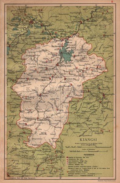 Associate Product Kiangsi (Jiangxi) China province map. Nanchang. STANFORD 1908 old antique