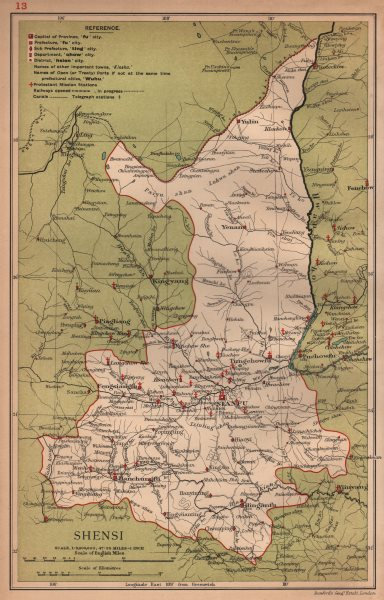 Associate Product Shensi (Shaanxi) China province map. Sianfu (Xian). STANFORD 1908 old