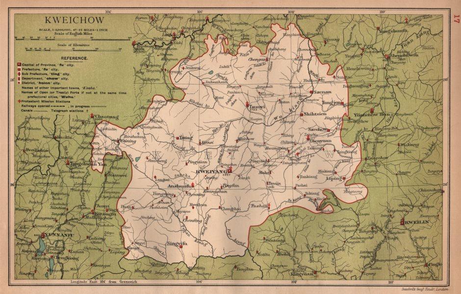 Associate Product Kweichow (Guizhou) China province map. Kweiyang (Guiyang). STANFORD 1908