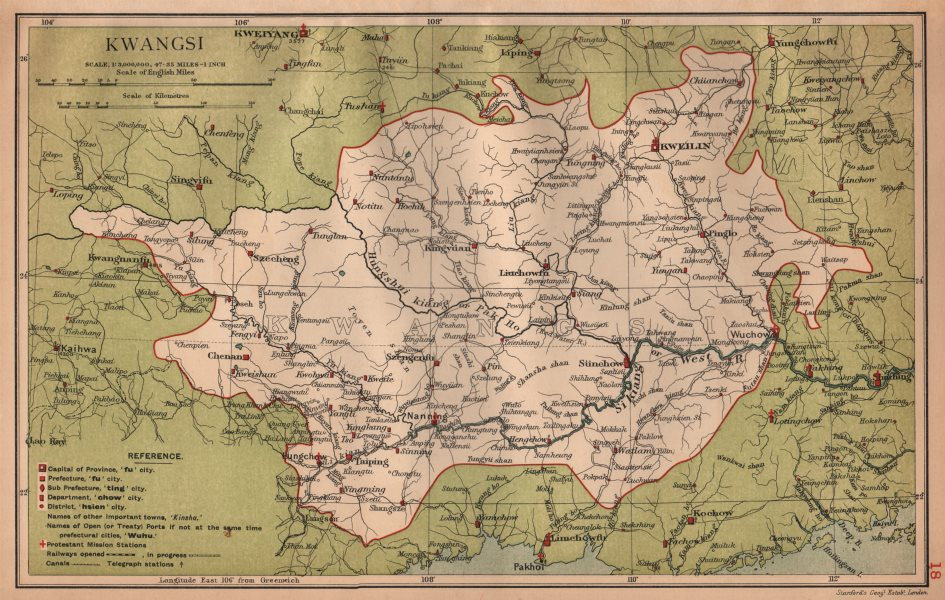Associate Product Kwangsi (Guangxi) China province map. Kweilin (Guilin). STANFORD 1908 old