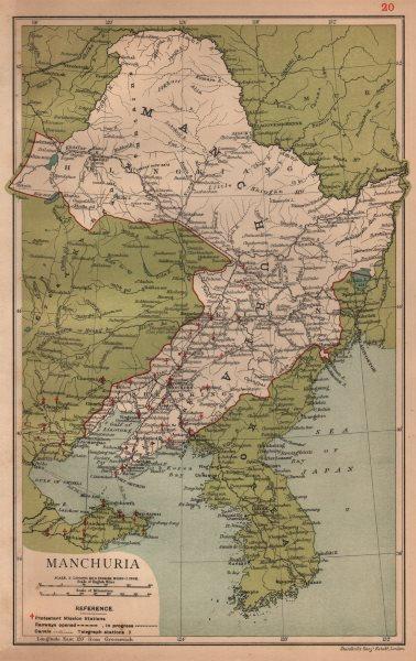 Associate Product Manchuria (Liaoning, Jilin & Heilongjiang) China province map. STANFORD 1908