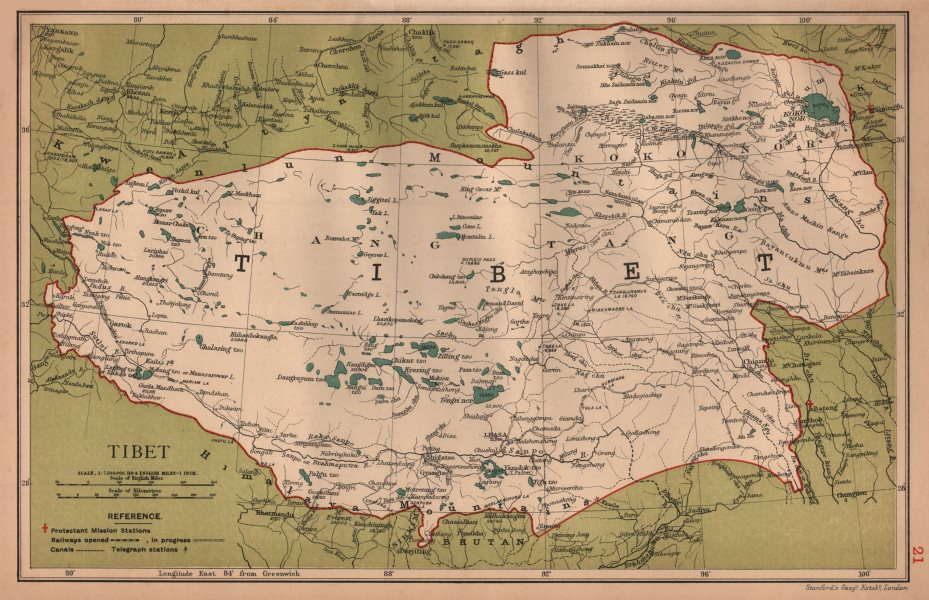 Associate Product Tibet & Koko Nor (Tibet & Qinghai) China province map. Lhasa. STANFORD 1908