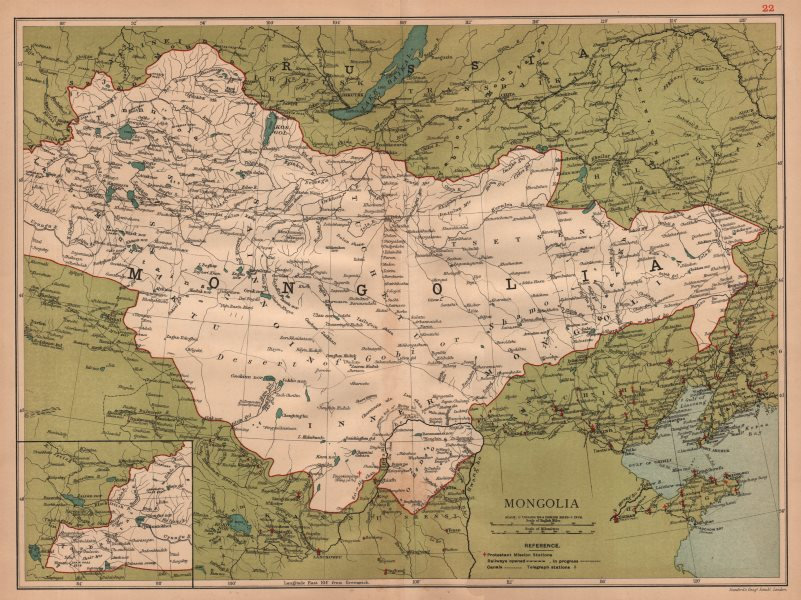 Associate Product Mongolia showing the Great Wall of China. Peking/Beijing &c. STANFORD 1908 map