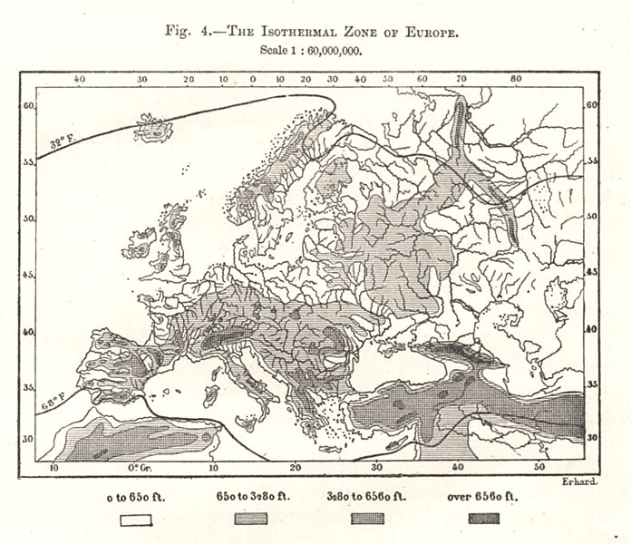 Associate Product The Isothermal Zone of Europe. Sketch map 1885 old antique plan chart