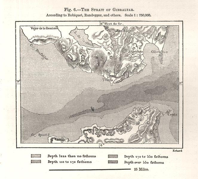 Associate Product The Strait of Gibraltar per Robiquet, Randegger et al. Sketch map 1885 old