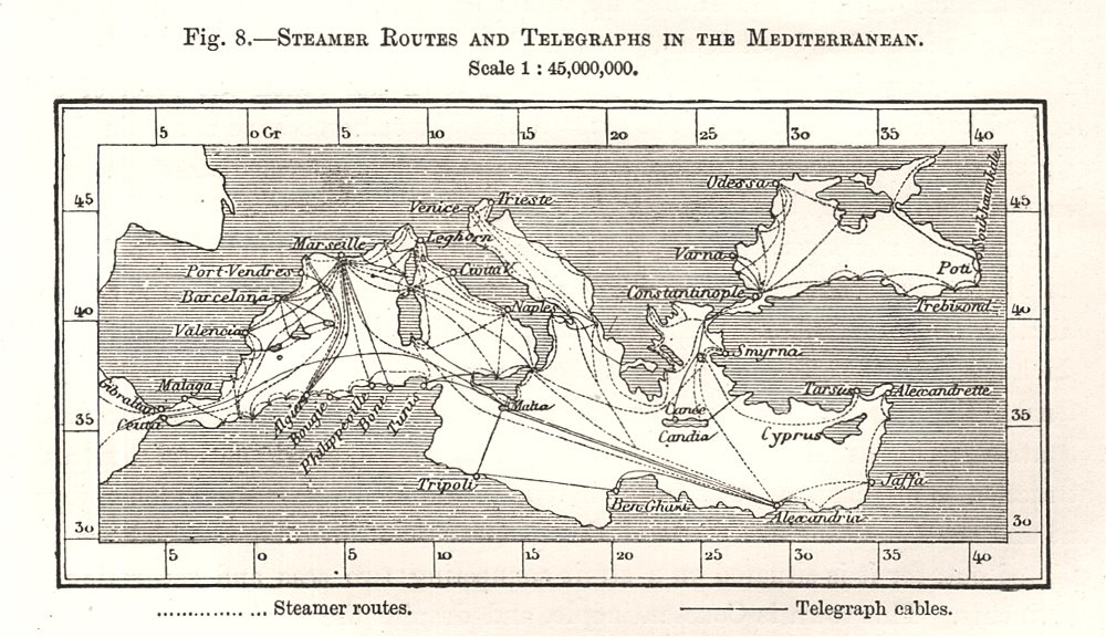 Associate Product Steamer Routes and Telegraphs in the Mediterranean. Sketch map 1885 old