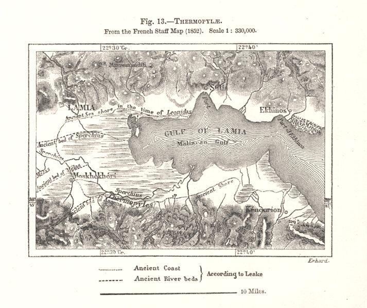 Associate Product Malian Gulf. Thermopylae from the French Staff Map. Greece. Sketch map 1885