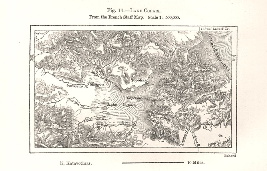Associate Product Lake Copais from the French Staff Map. Greece. Sketch map 1885 old antique