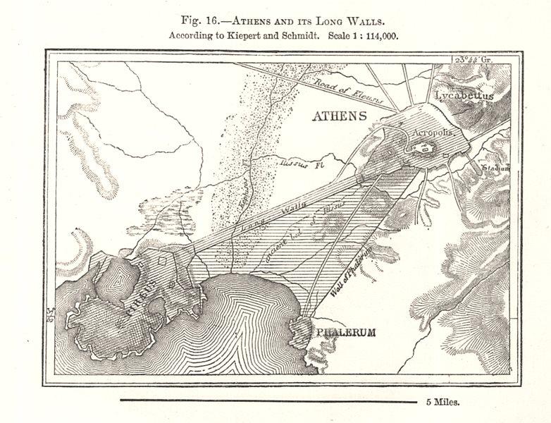 Associate Product Athens & its Long Walls per Kiepert & Schmidt. Greece. Sketch map 1885 old
