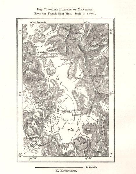 Associate Product The Plateau of Mantinae. Tripolitsa. French Staff Map. Greece. Sketch map 1885