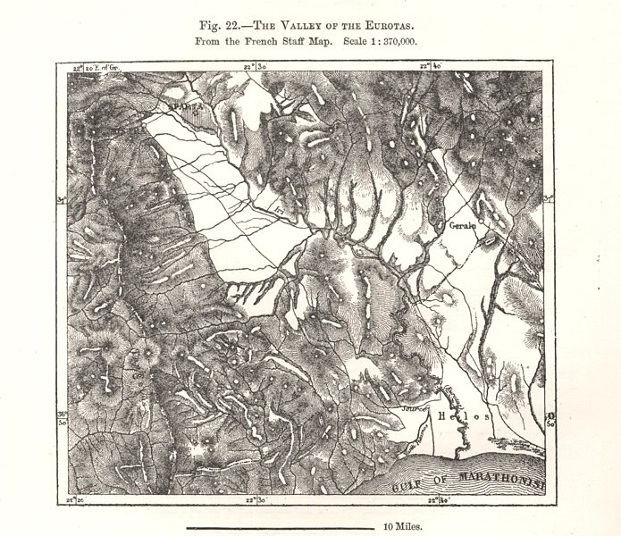 Associate Product The Eurotas Valley. Sparta. French Staff Map. Greece. Sketch map 1885 old