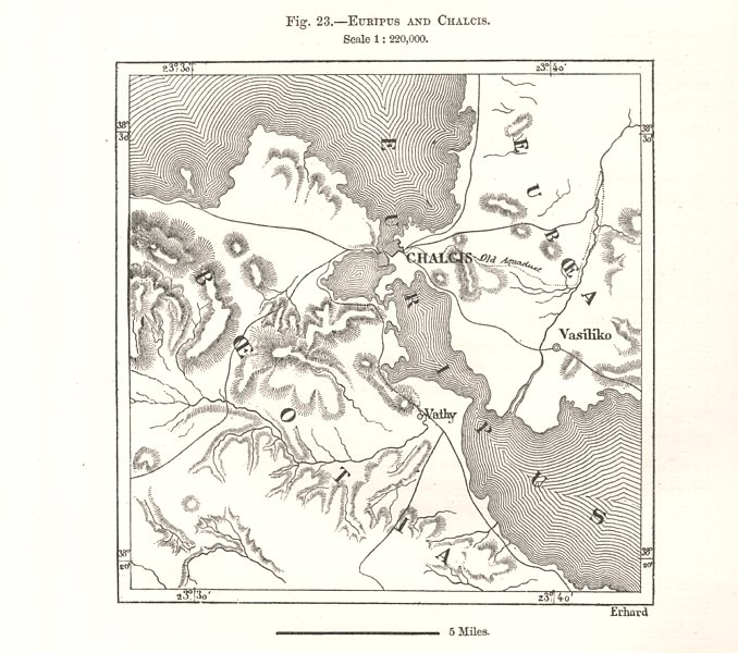 Associate Product Euripus strait and Chalcis. Greece. Sketch map 1885 old antique plan chart