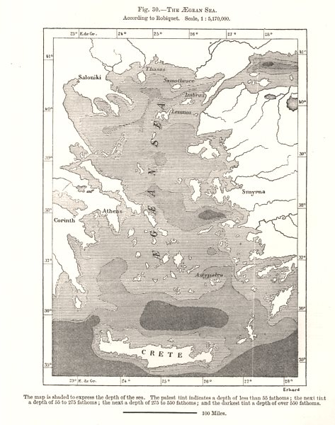 Associate Product The Aegean Sea according to Robiquet. Greece. Sketch map 1885 old antique