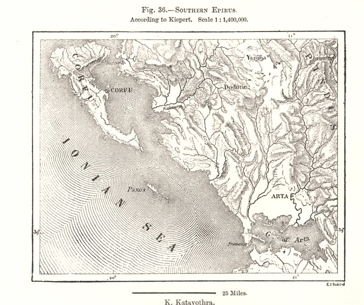 Associate Product Southern Epirus. Corfu Paxos Arta. Greece. Sketch map 1885 old antique