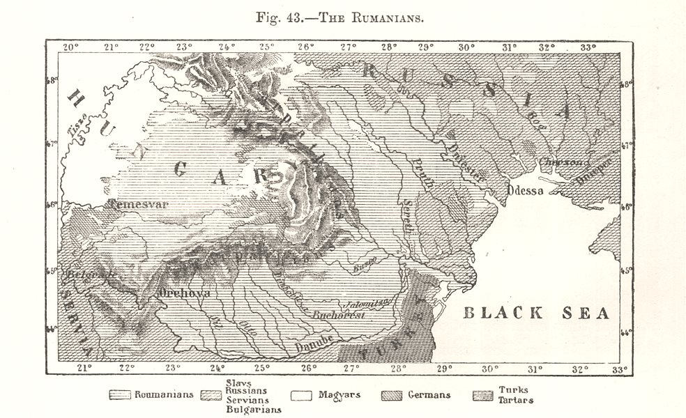 Associate Product The Rumanians. Romania. Sketch map 1885 old antique vintage plan chart