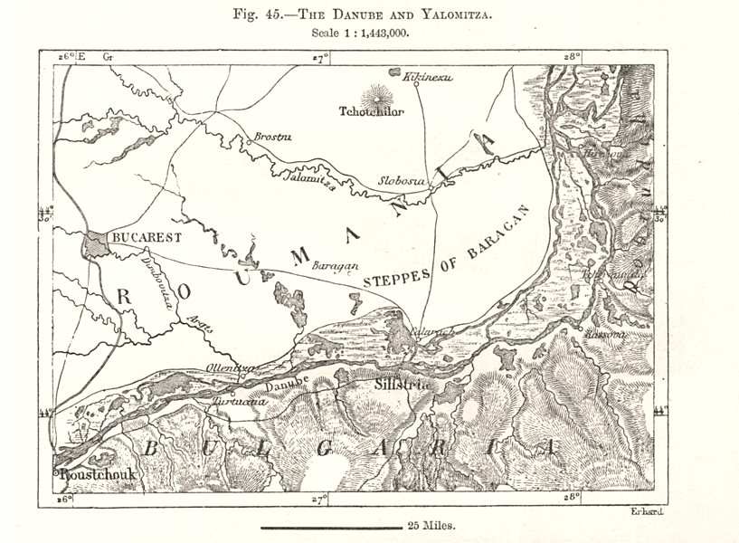 The Danube and Ialomita Yalomitza. Romania. Sketch map 1885 old antique