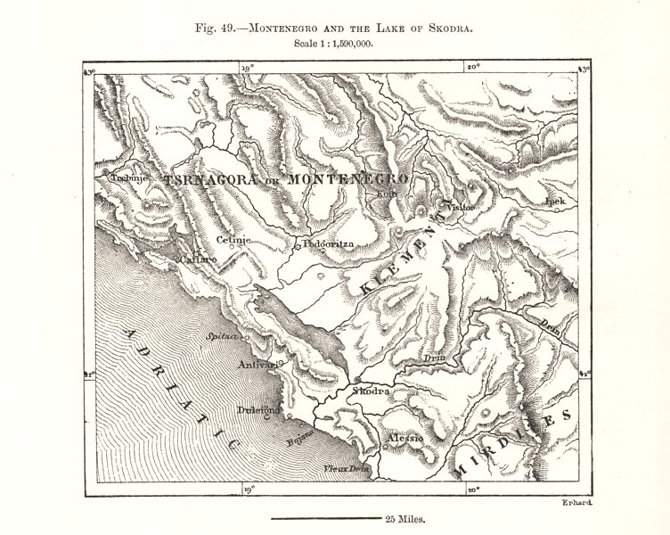 Associate Product Montenegro and the Lake of Skadar. Sketch map 1885 old antique plan chart