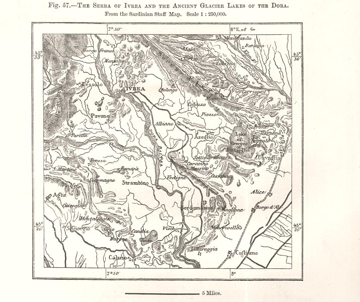 The Serra of Ivrea & Ancient Glacier Lakes of the Dora. Italy. Sketch map 1885