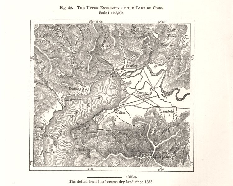Associate Product The upper extremity of the Lake of Como. Lago di Como. Italy. Sketch map 1885