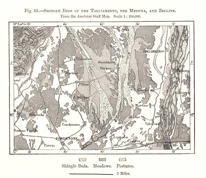 Associate Product Shingle Beds of the Tagliamento, Meduna & Zelline. Pordenone. Sketch map 1885