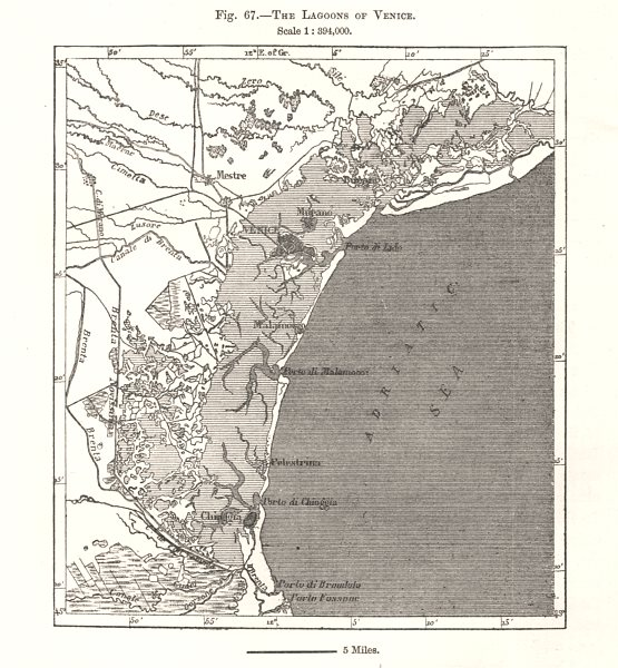 Associate Product The Lagoons of Venice. Italy. Sketch map 1885 old antique plan chart