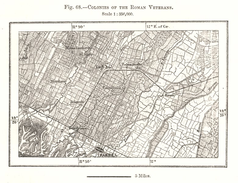 Associate Product Colonies of the Roman Veterans. Faenza Italy. Sketch map 1885 old antique