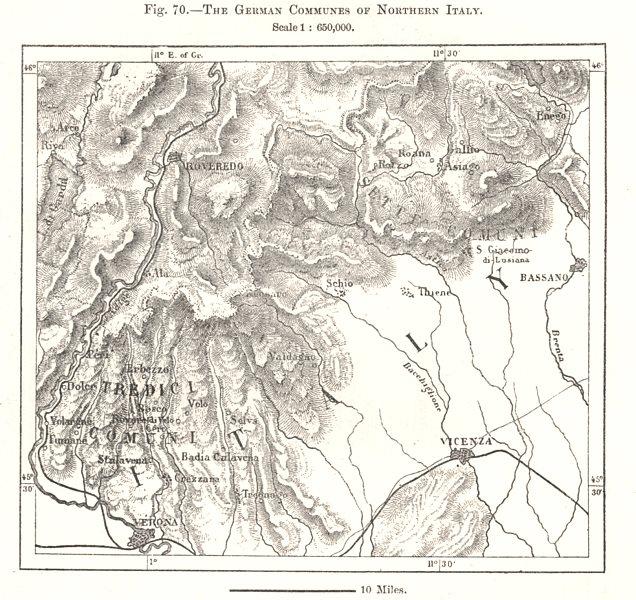 Associate Product North Italy German Communes. Tredici Comuni. Cimbrian language. Sketch map 1885