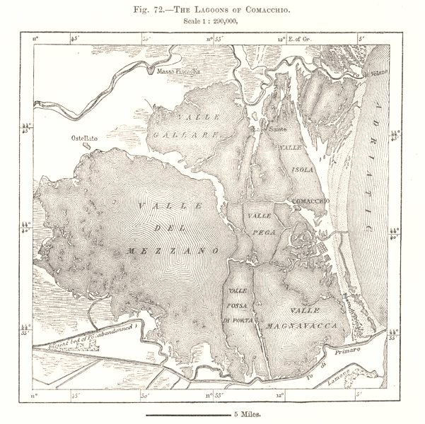 Associate Product The Lagoons of Comacchio. Italy. Sketch map 1885 old antique plan chart