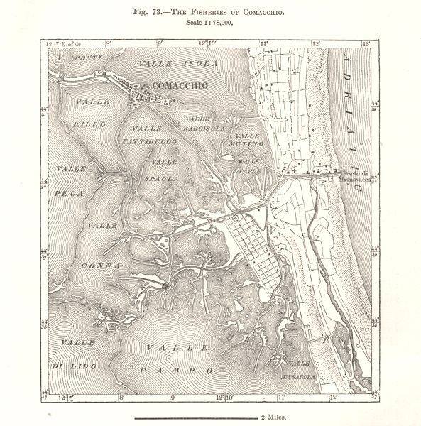 Associate Product The Fisheries of Comacchio. Italy. Sketch map 1885 old antique plan chart