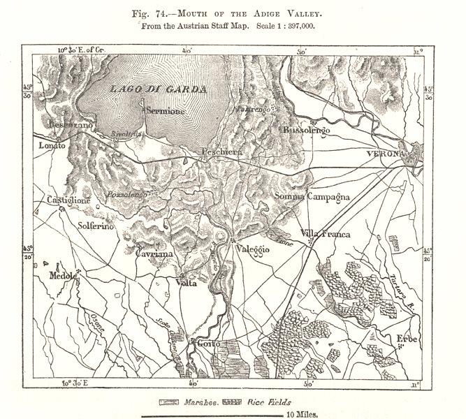 Adige Valley mouth. Austrian Staff Map. Lago di Garda. Italy. Sketch map 1885