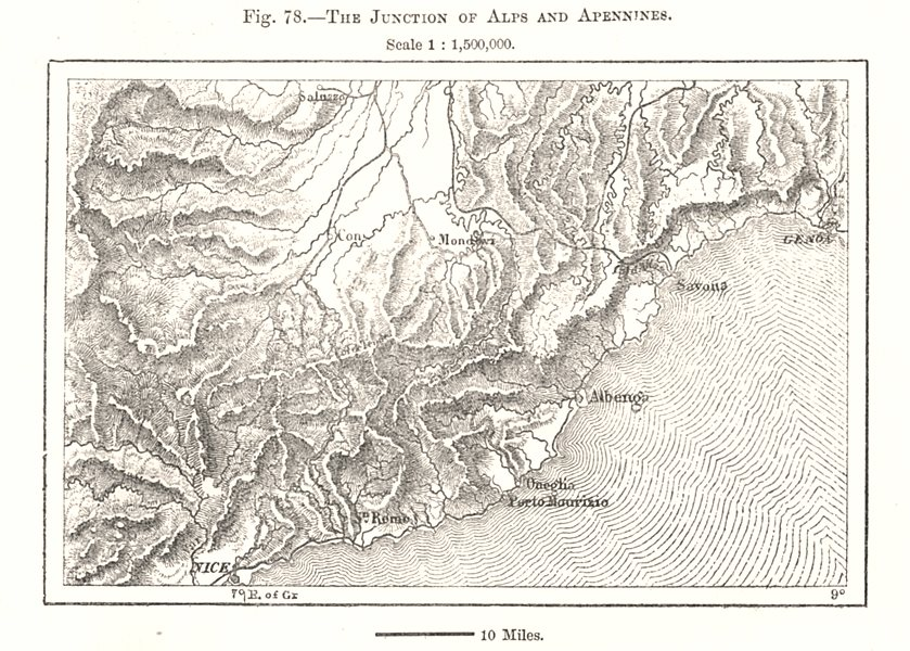 Associate Product The Junction of Alps and Apennines. Liguria Nice Genoa Italy. Sketch map 1885
