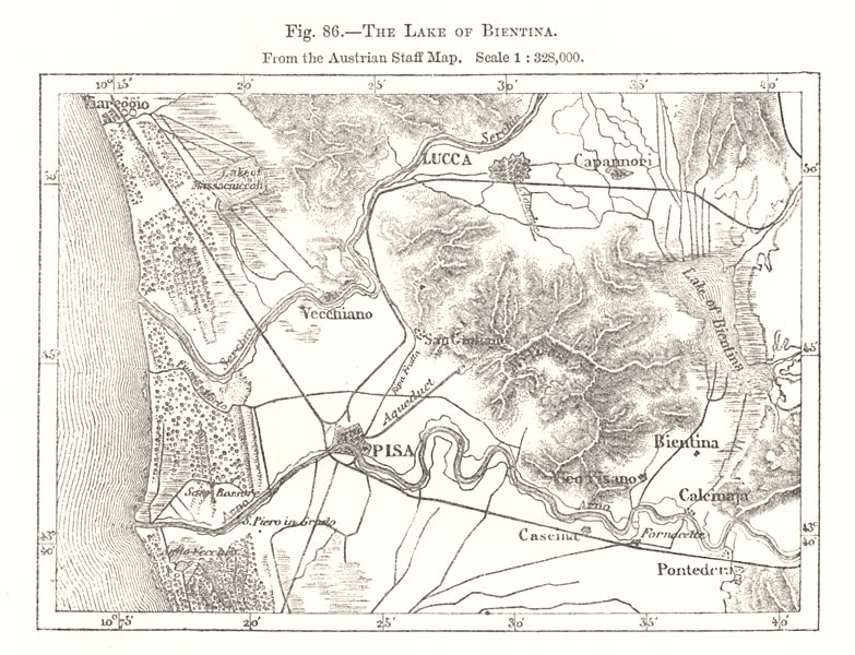 Associate Product Lake of Bientina. Austrian Staff Map. Pisa Lucca Italy. Sketch map 1885