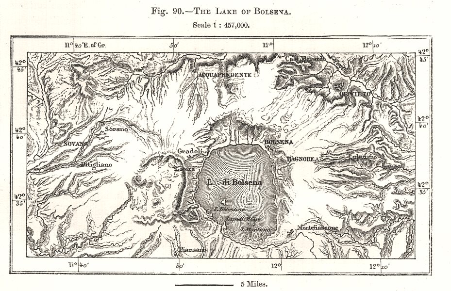Associate Product The Lake of Bolsena. Italy. Sketch map 1885 old antique vintage plan chart