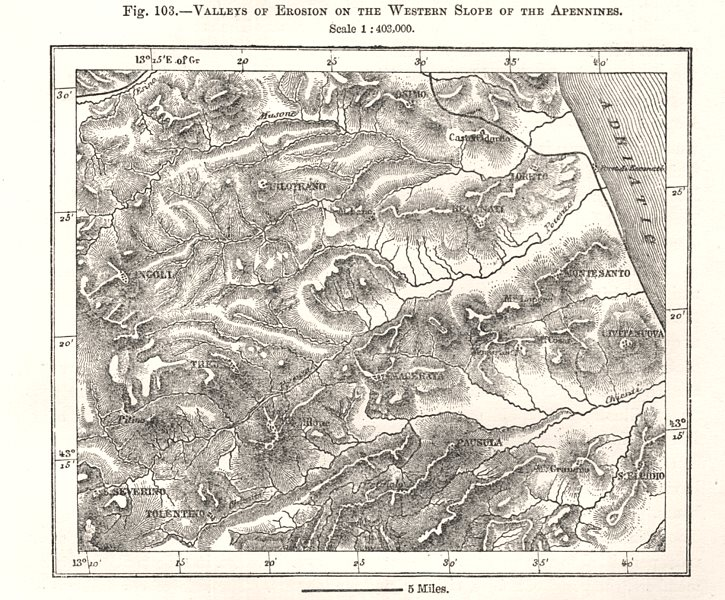 Associate Product Valleys of erosion of the eastern Slope of the Apennines. Italy. Sketch map 1885