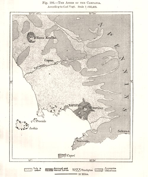 Associate Product Vesuvius. The ashes of the Campania per Carl Vogt. Italy. Sketch map 1885