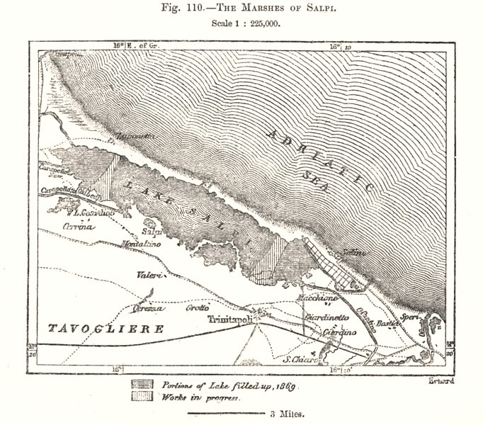 Associate Product The Marshes of Salpi. Saline di Margherita di Savoia. Italy. Sketch map 1885