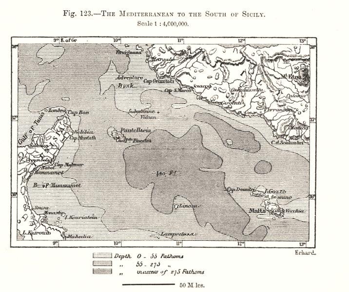 Associate Product The Mediterranean south of Sicily. Pantellaria Malta. Tunisia. Sketch map 1885