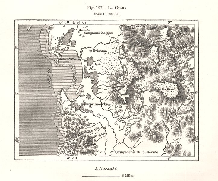 Associate Product La Giara. Sardinia. Sketch map 1885 old antique vintage plan chart