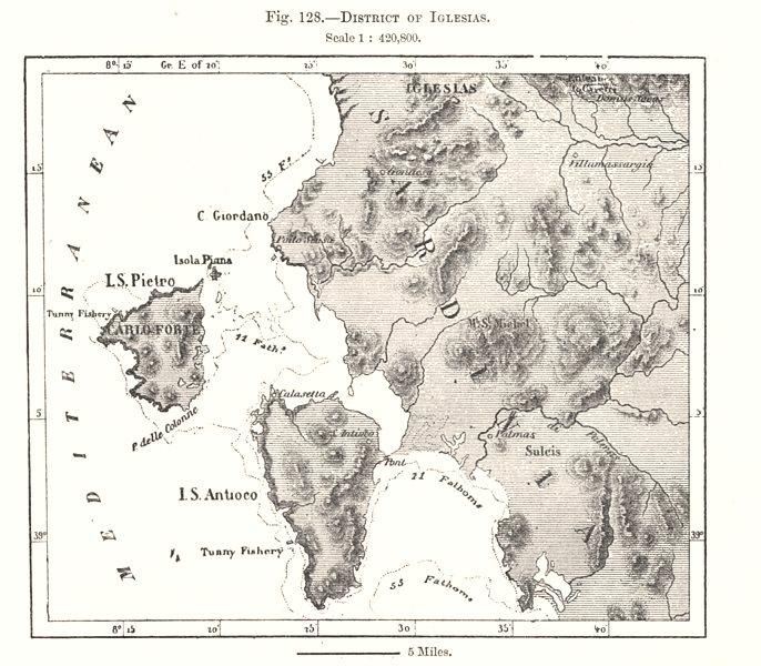 Associate Product District of Iglesias. Carloforte Sant'Antioco. Sardinia. Sketch map 1885