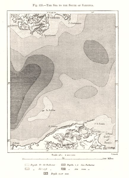 Associate Product The Sea to the South of Sardinia. Tunisia. Mediterranean. Sketch map 1885