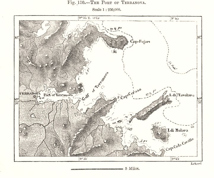 Associate Product The Port of Olbia. Terranova. Sardinia. Sketch map 1885 old antique chart