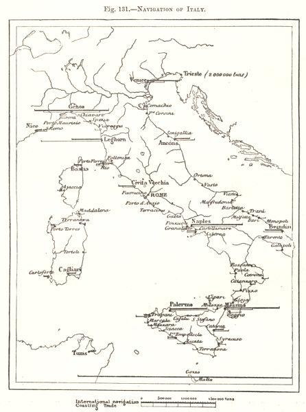 Navigation of Italy. Ports. Sketch map 1885 old antique vintage plan chart
