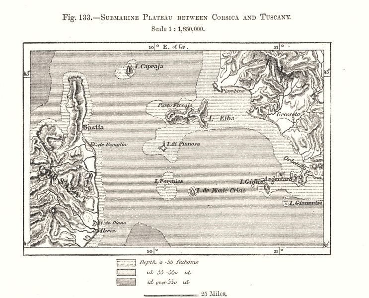 Submarine Plateau between Corsica and Tuscany. Elba. Italy. Sketch map 1885