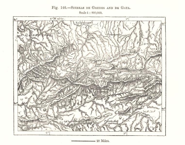 Associate Product Sierras de Gredos and de Gata. Salamanca. Spain. Sketch map 1885 old