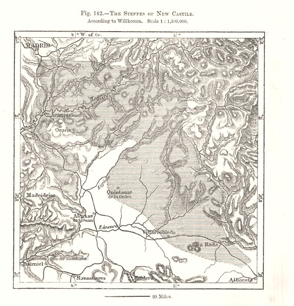 Associate Product Madrid. The Steppes of New Castile. Spain. Sketch map 1885 old antique