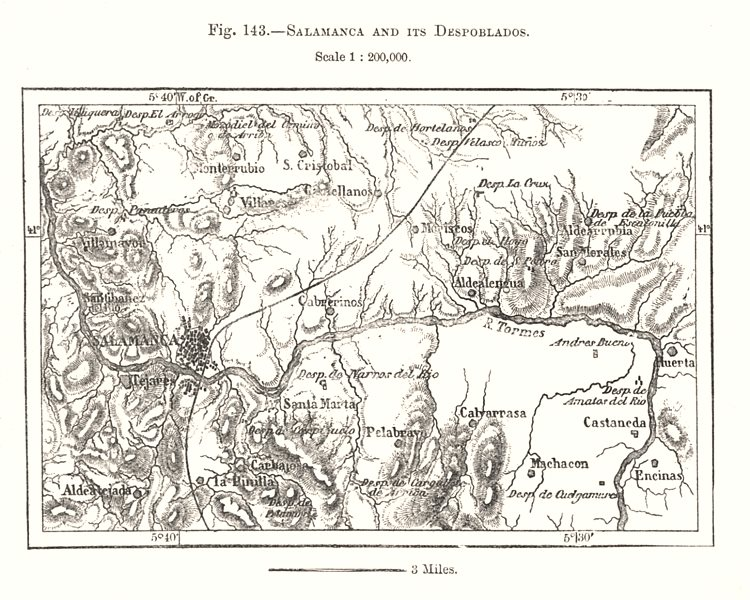 Associate Product Salamanca and its Despoblados. Spain. Sketch map 1885 old antique chart