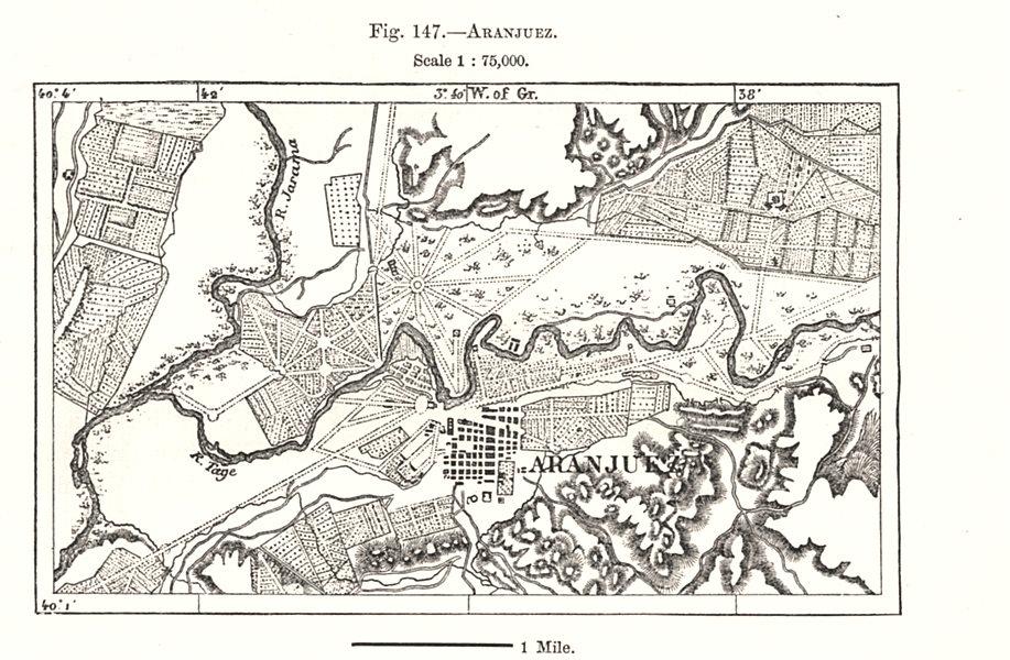 Associate Product Aranjuez city plan. Spain. Sketch map 1885 old antique vintage chart