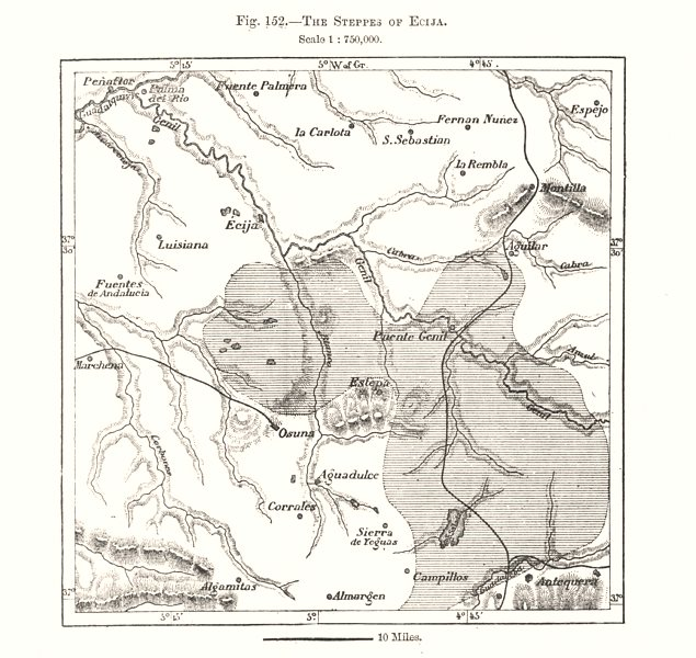 Associate Product The Steppes of Ecija. Spain. Sketch map 1885 old antique plan chart