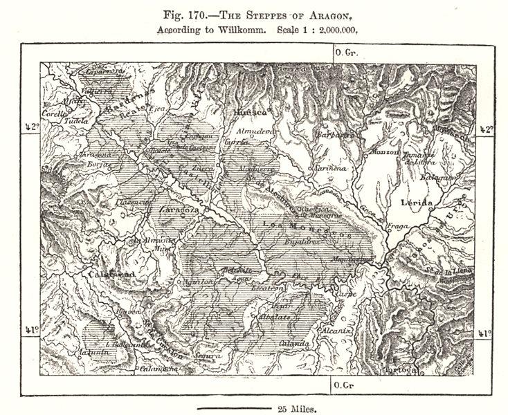 Associate Product The Steppes of Aragon, per Willkomm. Zaragoza Lerida. Spain. Sketch map 1885