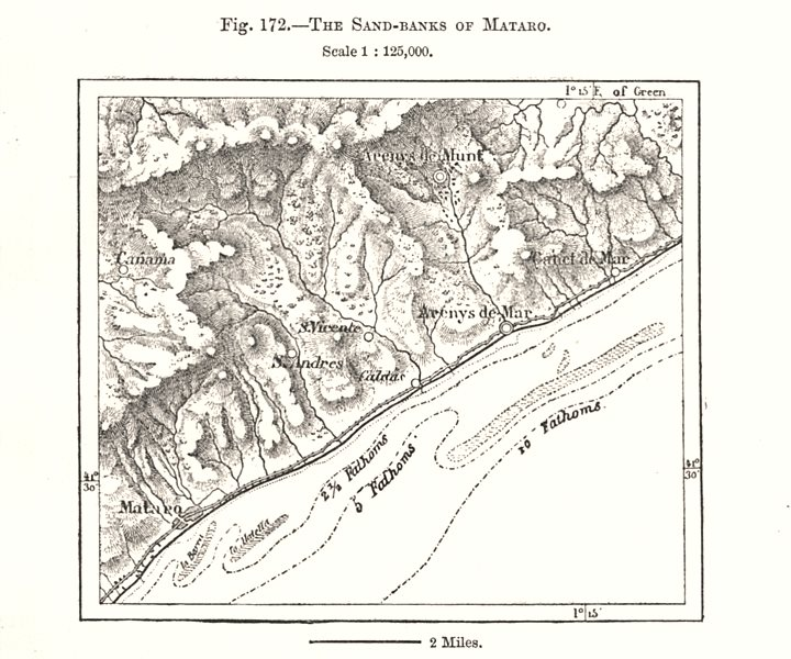 Associate Product The Sand-Banks of Mataro. Arenys de Mar. Spain. Sketch map 1885 old